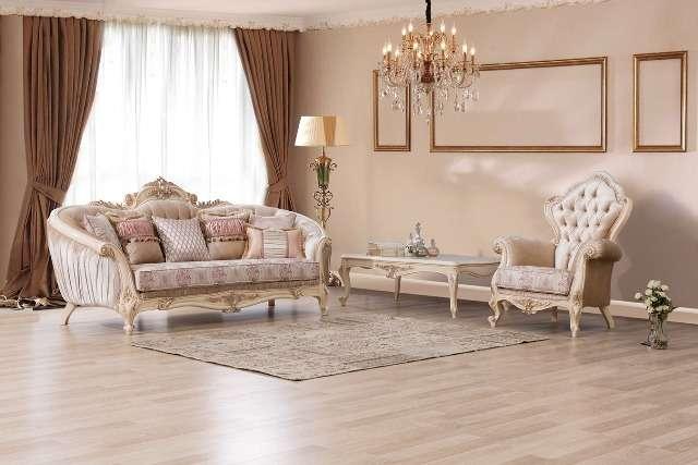 Светлый классический радиусный диван Хелен, Турция
