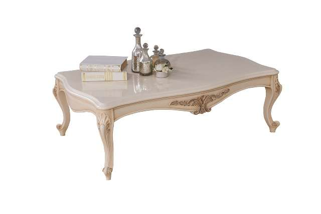 Белый резной столик Хелен с золотой патиной