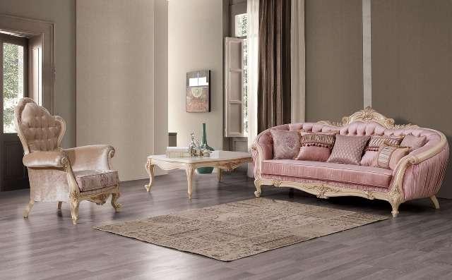 Радиусный диван с креслами в стиле барокко Хелен, Турция