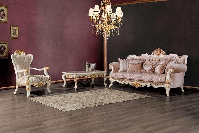 Турецкий белый диван в стиле барокко Лена
