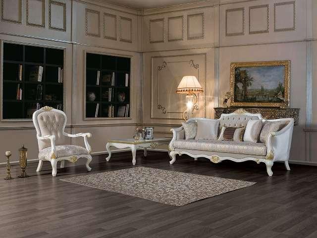 Белая резная мягкая мебель для гостиной Мария