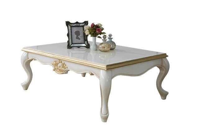 Прямоугольный классический белый столик с золотой патиной Мария