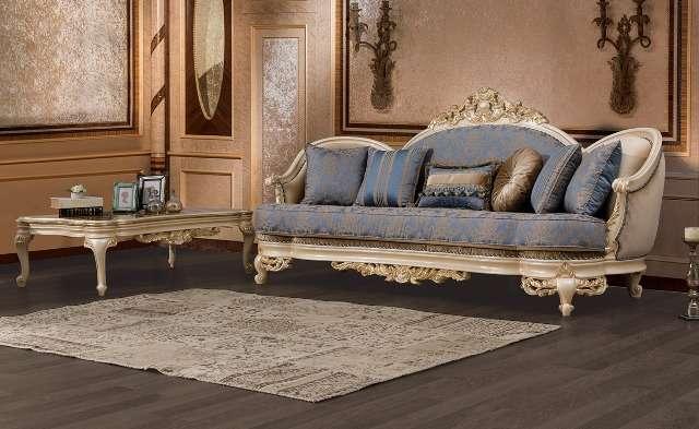 Классический белый диван Нева с золотой короной, Турция