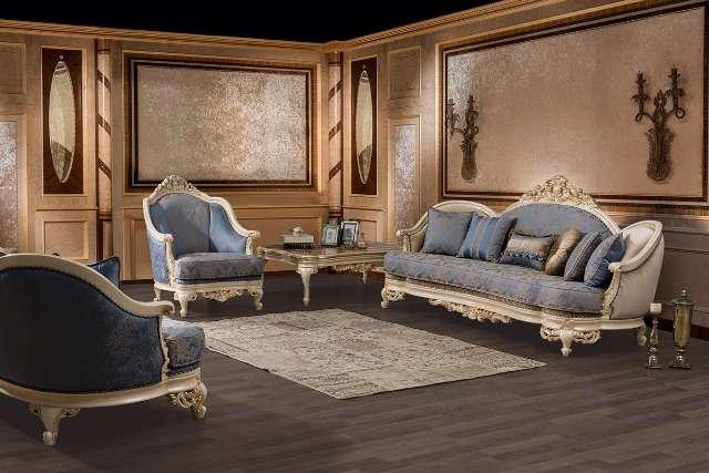 Строгий классический диван в голубой обивке Нева (NEVA)