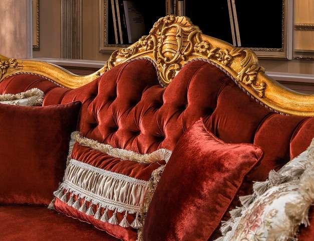 Красная велюровая обивка дивана Рома, Турция