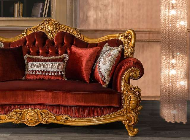 Злолтой резной каркас дивана Рома, Турция