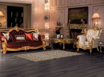 Золотой диван в красной обивке из серии Рома, Турция