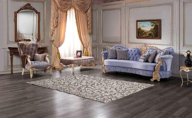 Турецкий фиолетовый диван Густо в стиле барокко. Резная мебель под заказ