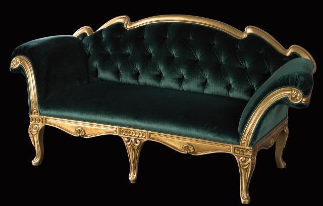 Темно зеленый 2-х местный диванчик в классическом стиле из Италии divanos.com.ua