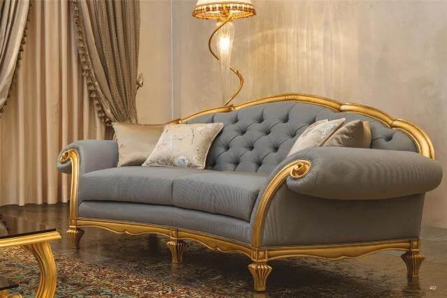 Дорогой Классический диван в сдержанном стиле с золотом от Мантеласси