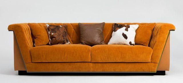 Оранжевый тканевый диван из Италии divanos.com.ua