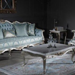 Классический диван с креслами Лондон в голубой оббивке