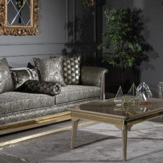Прямой диван Лакшери в наборе с креслами с столиком