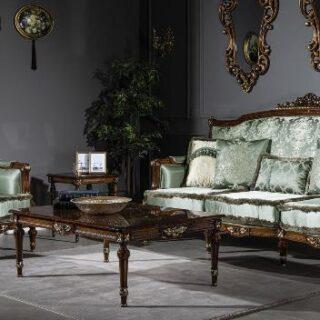 Классический ореховый диван с креслами Палаце