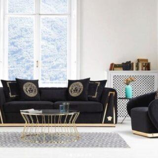 Комплект черной мягкой мебели Версаче, Турция