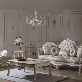 Белый диван в стиле барокко Мия