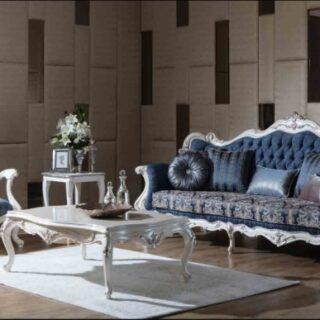 Синяя классическая мягкая мебель Виктория в холл
