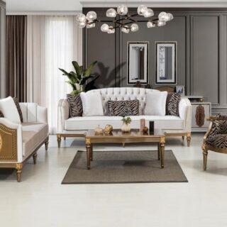Мягкий диван с креслами в ореховом дереве Лион