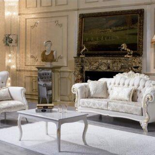 Белый комплект мягкой мебели в классическом стиле Ламия