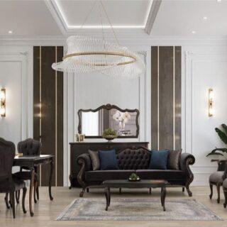 Мягкий темный диван Лиссабон в классическом стиле с капитоне