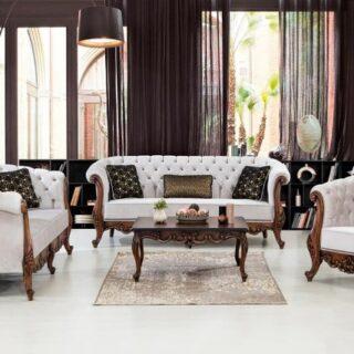 Белые диваны с креслом Милан в стиле капитоне ( каретная стяжка)