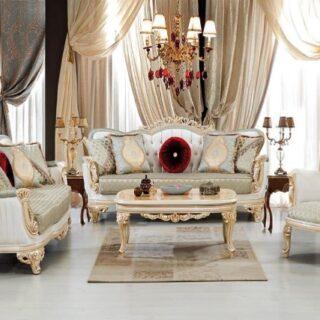 Белый мягкий уголок в стиле барокко Седеф