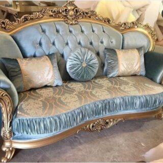 Классический раскладной диван в голубом шелке Патриций